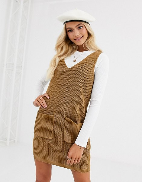 Pieces knitted pinafore mini dress in camel-beige in beige