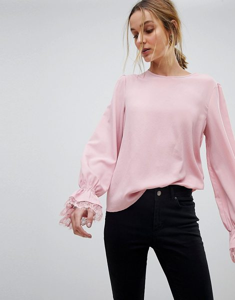PIECES Lace Cuff Top in pink - Top by PIECES, Crew neck, It's classic you, Lace cuff...