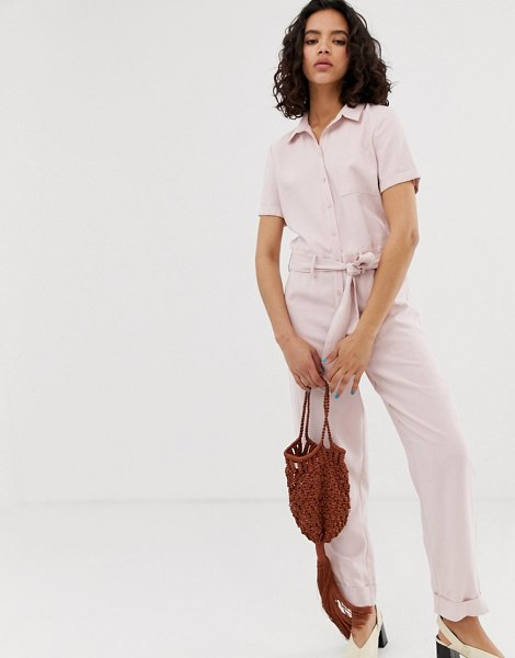 Pieces lightweight boilersuit in pink in pink
