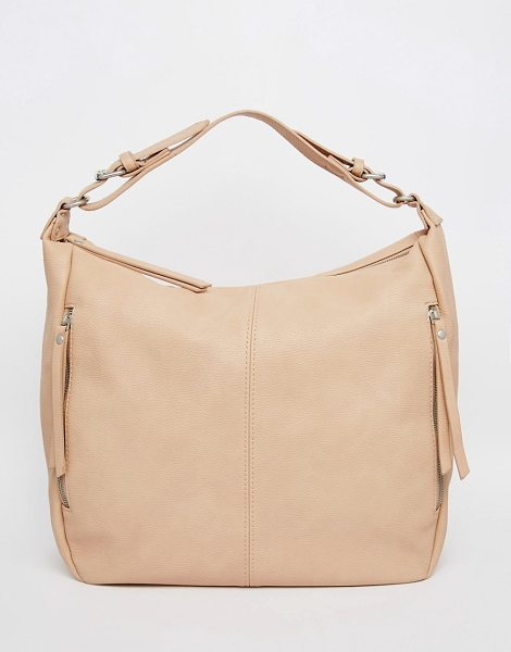 PIECES Slouch hobo shoulder bag in nude - Cart by Pieces Faux leather outer Single strap Zip top...