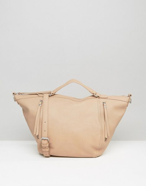 PIECES Slouchy Winged Tote Bag in Blush - Cart by Pieces, Faux-leather, Fully lined, Twin handles,...