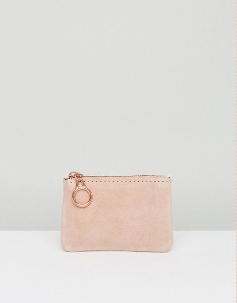 Pieces Suede Coin Purse in pink - Wallet by Pieces, Leather/Faux leather/Fabric outer, Zip...