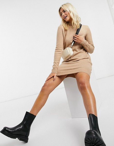 Pieces sweater dress with high neck in camel-cream in cream
