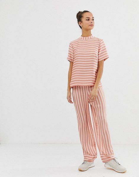 Pieces tika stripe wide leg pants in rosedawn