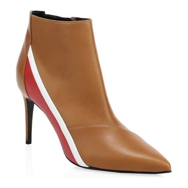Pierre Hardy alpha leather ankle boots in brown - Luxe leather ankle boots with contrast color striped...