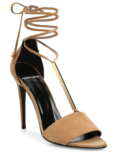 Pierre Hardy blondie suede & metal ankle-tie sandals in nude - Striking suede ankle-tie sandal inset with golden bar....