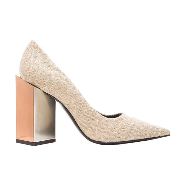 PIERRE HARDY Monolite linen heels - Linen upper with leather sole.  Made in Italy.  Approx...