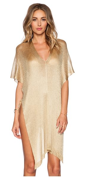 PilyQ Madagascar poncho in metallic gold - 90% viscose 6% poly 4% polyamide. Hand wash cold. Fringe...