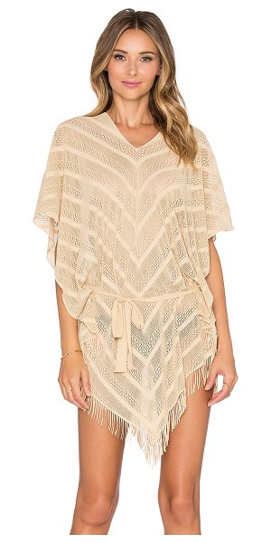 PilyQ Riviera poncho in tan - 100% polyamide. Hand wash cold. PILY-WX110. ORO 402T....