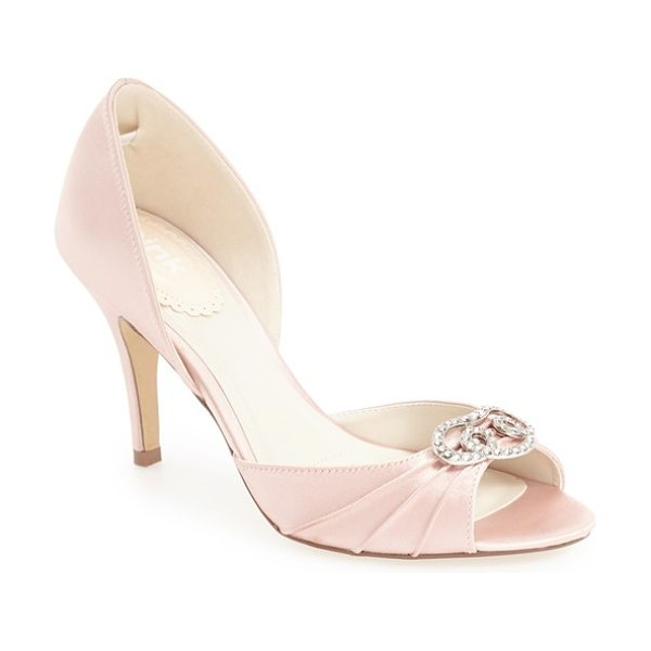 pink paradox london 'amour' d'orsay pump in blush - A dazzling crystal-encrusted brooch accents the pleated...