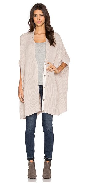 Pink Stitch Isabella cardigan in tan - 70% acrylic 30% wool. Hand wash cold. Front snap button...