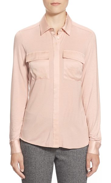 Pink Tartan silk trim jersey shirt in pale pink - Silky satin trim puts polished luster on a jersey-knit...