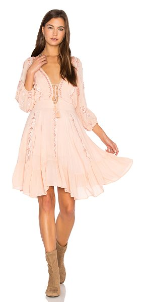 Piper Indo Dress in peach - Cotton blend. Hand wash cold. Partially lined. Lace-up...