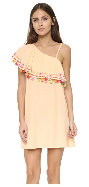 Piper Java dress in petal - Multicolor tassels detail the ruffled neckline of this...