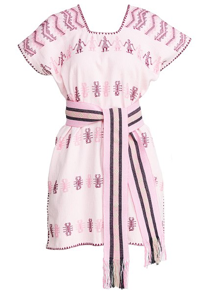 Pippa Holt mini caftan with belt in white/pink