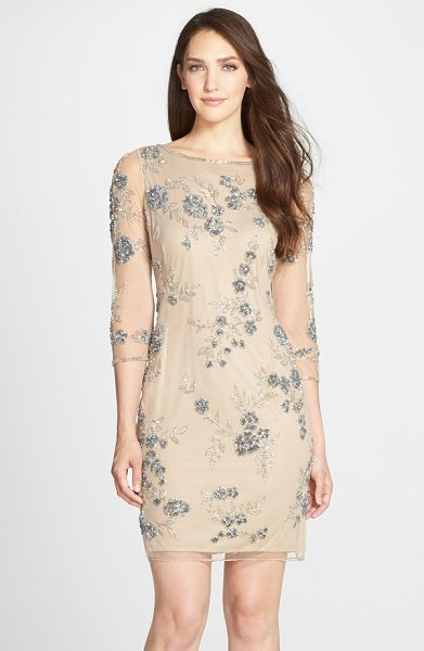 Pisarro Nights beaded floral mesh dress in blush - Twinkling beads in ornate floral patterns detail a...