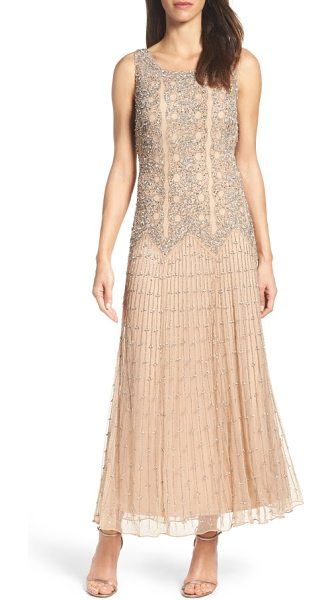 Pisarro Nights beaded gown in rose - Intricately embroidered metallic beads and sequins...