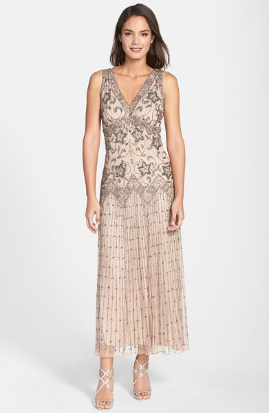 PISARRO NIGHTS beaded mesh dress - Ornate floral beadwork covers the long mesh overlay of a...
