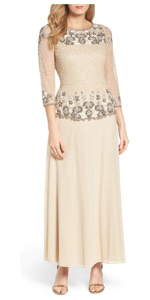 Pisarro Nights beaded mesh gown in champagne - Light-catching beads and sequins create vintage-inspired...