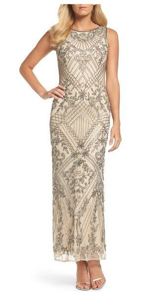 Pisarro Nights beaded mesh gown in champagne - Light-catching patterns of matching sequins and beads...