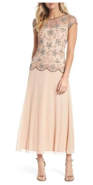 Pisarro Nights beaded mesh gown in blush - Scintillating beadwork over soft, airy mesh gives this...