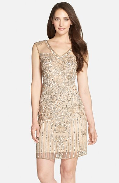Pisarro Nights beaded mesh v-neck dress in blush - Steal the evening scene in a sheath twinkling with...