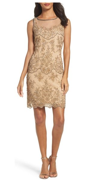 Pisarro Nights embellished dress in champagne - Intensely beautiful beadwork lights up a memorable...