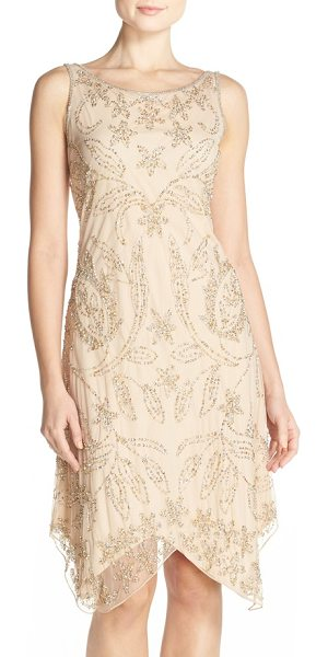 Pisarro Nights embellished mesh a-line dress in champagne - This gauzy cocktail dress glints in silver and gold, and...