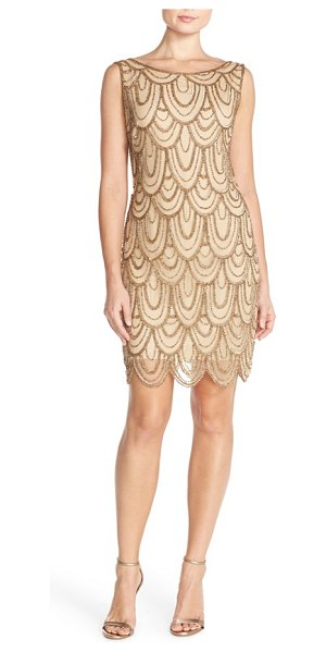 Pisarro Nights embellished mesh sheath dress in stone - Sparkling beads and sequins overlap like petals all...