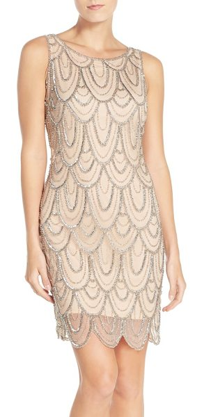 PISARRO NIGHTS embellished mesh cocktail dress in blush - Strands of gleaming beads and sequins create an Art...