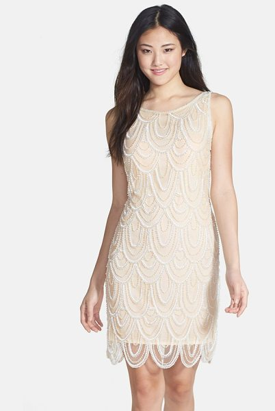 Pisarro Nights embellished mesh sheath dress in champagne - Sparkling beads and sequins overlap like petals all...