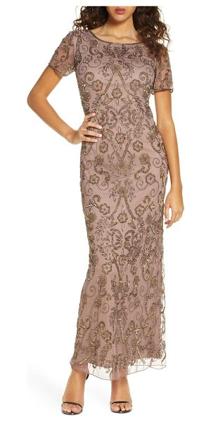 Pisarro Nights embellished mesh evening dress in metallic