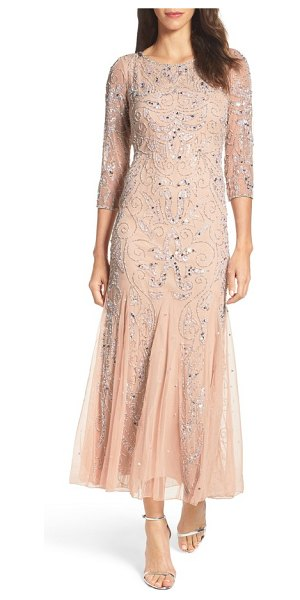 Pisarro Nights embellished mesh gown in blush - Thousands of glimmering beads and sequins sparkle around...