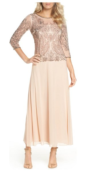 PISARRO NIGHTS embellished mesh gown in blush - Luxe beadwork adds a deep, dark twinkle to the gossamer...