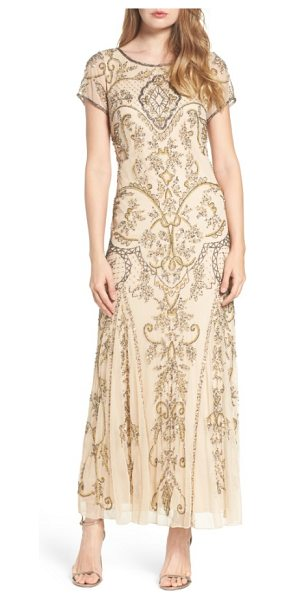 PISARRO NIGHTS embellished mesh gown in champagne - Teams of glittering beads and sequins hark back to Jazz...