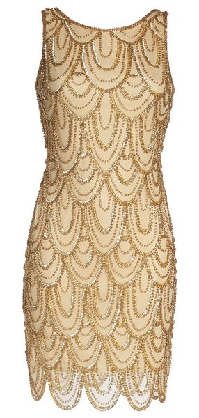 PISARRO NIGHTS embellished mesh sheath dress in gold - Sparkling beads and sequins overlap like petals all...
