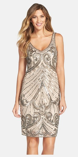 Pisarro Nights embellished mesh sheath dress in blush - The opulent sparkle of a bygone era comes roaring back...