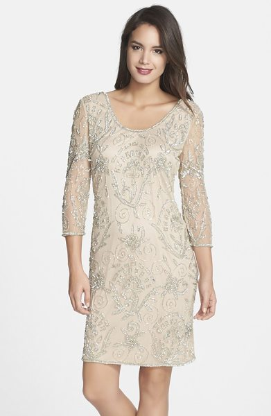 Pisarro Nights embellished mesh sheer sleeve dress in blush - Glimmering beads and sequins draw intricate patterns...