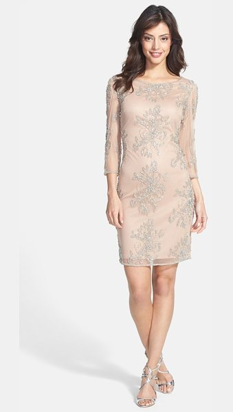 Pisarro Nights embellished sheer sleeve tulle dress in blush - Glimmering beads and sequins draw intricate patterns...