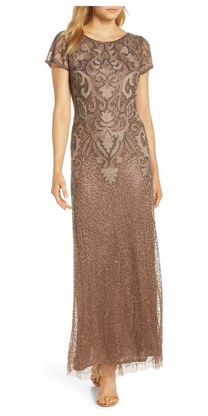 Pisarro Nights embroidered mesh gown in brown