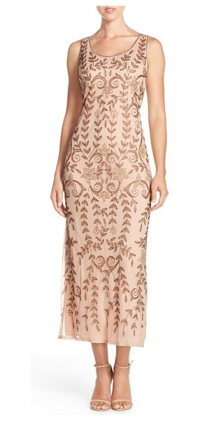 Pisarro Nights Pisarro beaded mesh a-line dress in blush - Bronzed beading gives leafy detail to this airy,...