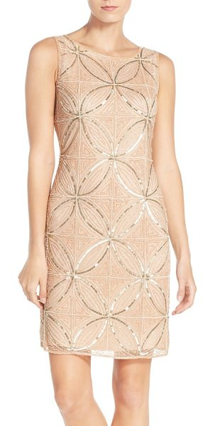PISARRO NIGHTS Pissarro nights embellished mesh sheath dress in blush - Strands of gleaming beads and sequins create an Art...