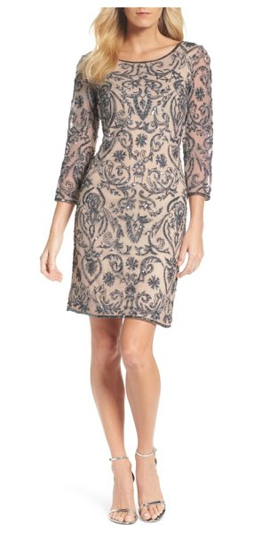 Pisarro Nights sequin embroidered sheath dress in rose - A sophisticated sheath dress with illusion sleeves...