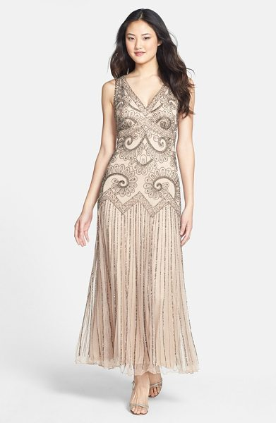 Pisarro Nights beaded mesh gown in rose - Intricately embroidered beads and sequins illuminate the...