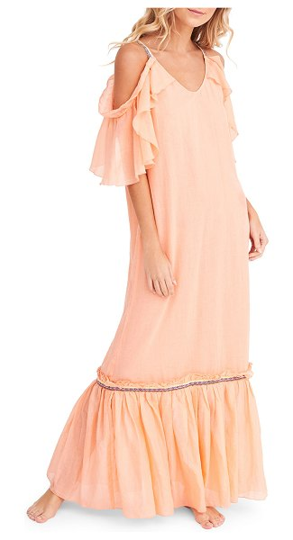 Pitusa Camille Scoop-Neck Cold-Shoulder Ruffle Maxi Dress in pink