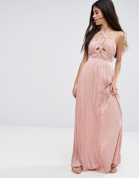 "Pixie & Diamond Halterneck Skater Dress With Cut Out Detail in pink - """"Maxi dress by Pixie Diamond, Woven fabric, Halter..."