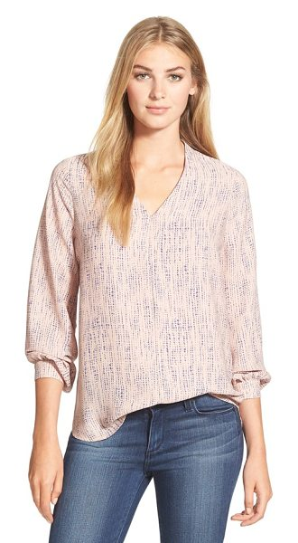 Pleione high/low v-neck blouse in peach/ navy scattered dot - A silky V-neck blouse in an enticing array of colors and...
