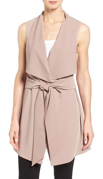 Pleione long drape front vest in mauve - Add a final layer of soft elegance to your look with a...