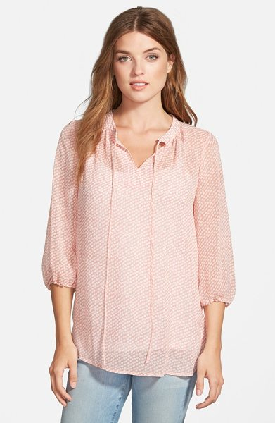 Pleione print tie neck chiffon peasant blouse in blush/ white chained dot - A charming print enhances the feminine appeal of a wispy...