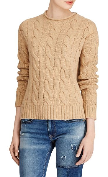 Polo Ralph Lauren cable-knit long sleeve sweater in camel - Timeless wool-blend sweater with chain design. Crewneck....